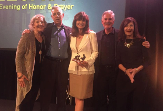 Karen Covell, Terry Botwick (honoree), Martha Williamson (honoree), and Dan and Peggy Rupple
