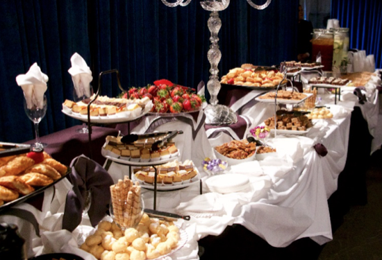 Guests enjoyed an elegant appetizer and dessert buffet.