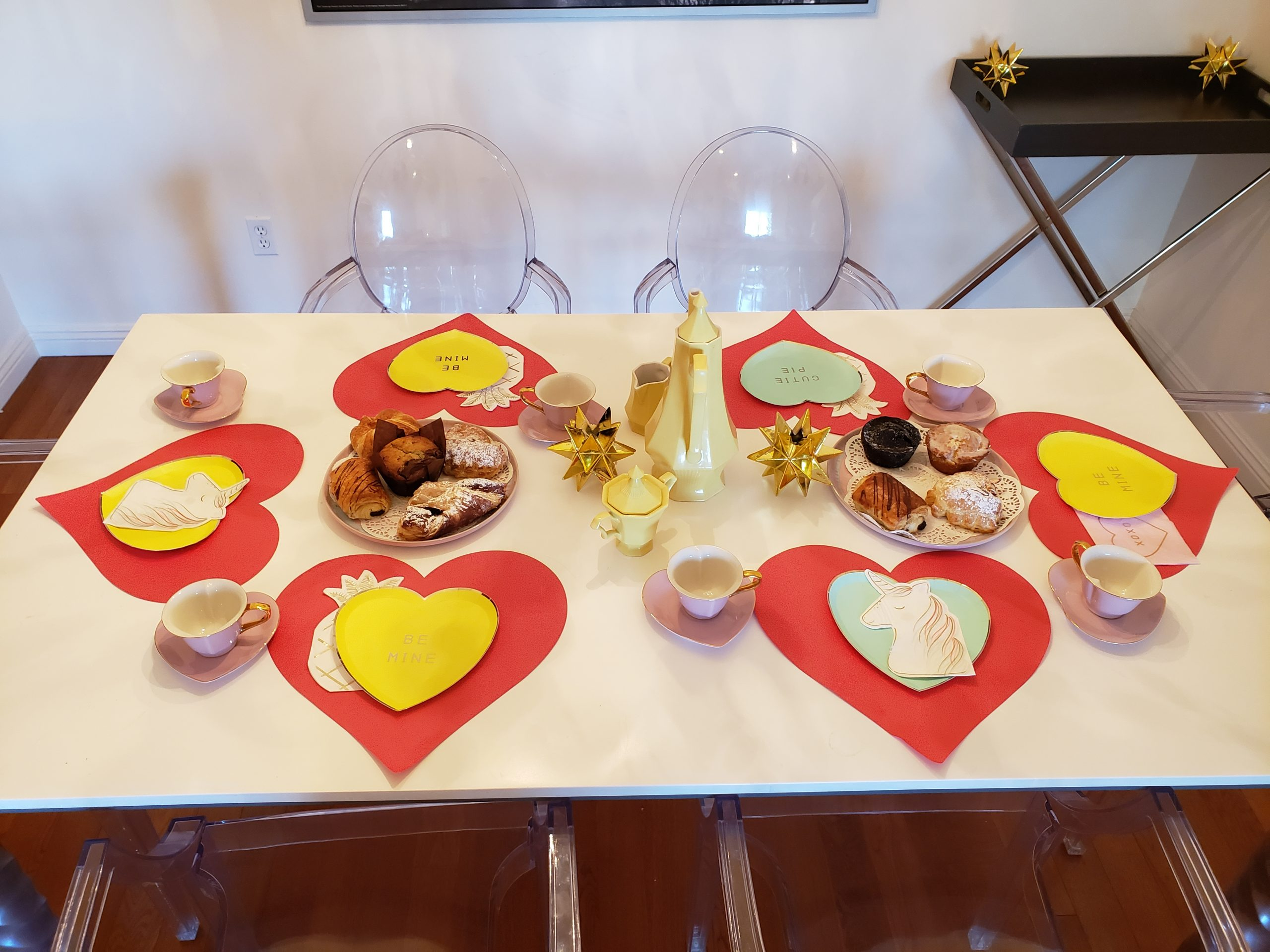 A table set with Valentine's Decorations