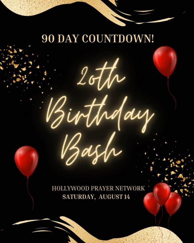 HOLLYWOOD PRAYER NETWORK IS TURNING 20! 🎈🎊  This August marks 20 YEARS of Hollywood Prayer Network, and we could not be more excited to be 90 days out from the BIGGEST PARTY OF THE YEAR, and you're invited to SAVE THE DATE! 🎞  We are ringing in 20 years in a HUGE way, by celebrating the BEST in Film, TV, Music, and Ministries in Hollywood over the past 2 decades- and we need YOUR help! 🎬🎈  If you are an entertainment ministry, local vendor, artist, photographer, or just want to volunteer- reach out to Kelry at kelry@hpnemail.org! ⭐️  90 Days will fly by, so mark your calendar and don't miss it!🗓🎥