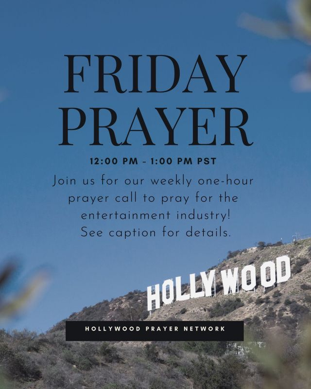 📢 FRIDAY PRAYER CALL!   🎬 Join us tomorrow for our weekly International Friday Prayer Call!   📧 Visit link in the bio to receive Zoom link!   🙏🏼 Tag your favorite celebrity below!  Let's pray for them! 🕊