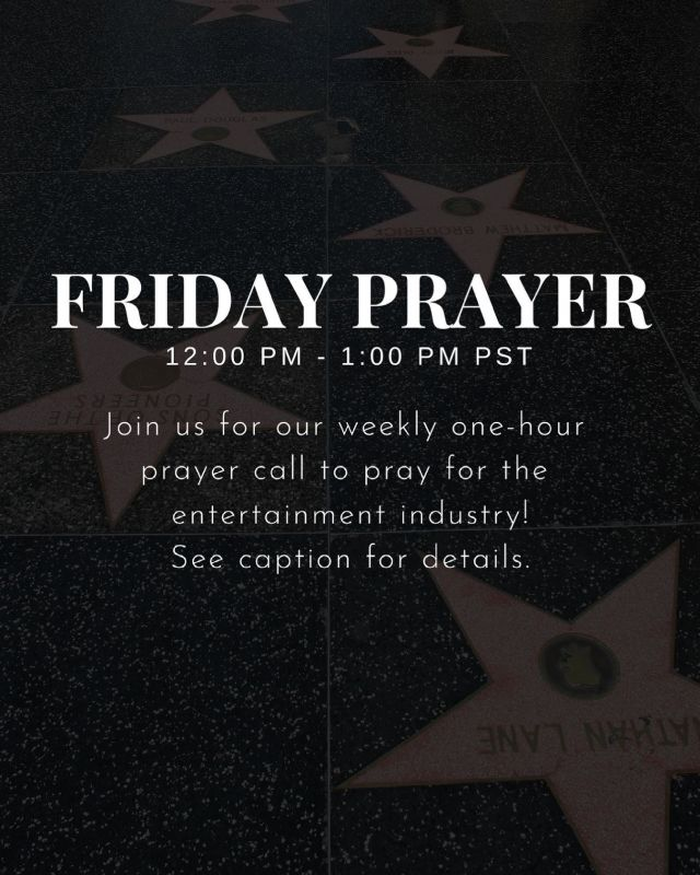 Join us in prayer for the entertainment industry 🙏  Prayer calls every Friday from 12 pm PST to 1 pm PST via Zoom. Join us from any part of the world!  Click the link in the bio for the Zoom link. 🙏