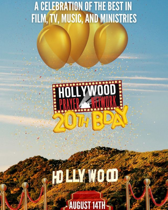 Hollywood Prayer Network celebrates 20 years on August 14th, and you're invited to the party of the year! Join us for a celebration! Click the link in the bio to purchase your ticket now 🥳